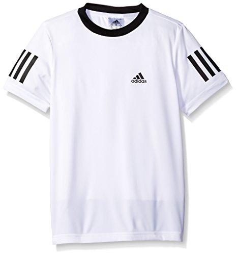 adidas Boys Tennis Club Tee, White/Black, X-Large
