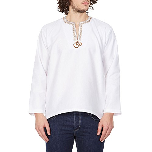 ShalinIndia Loose Fit Airy Embroidered Kurta Shirt For Men Om,Indian Fashion 46 (Mens Tunic Shirts)