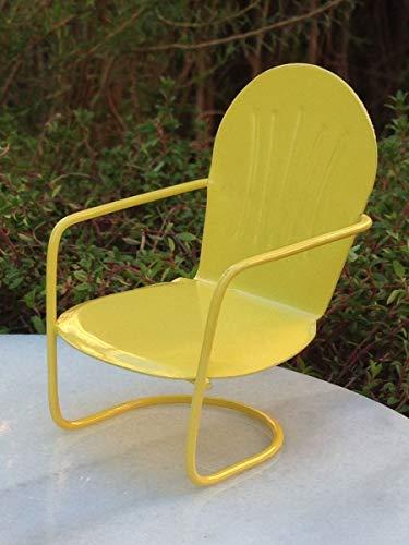 Miniature Dollhouse Fairy Garden Furniture ~ Yellow Metal Glider Chair ~ New -