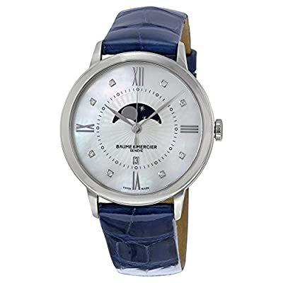 Baume and Mercier Classima Mother of Pearl Dial Blue Leather Ladies Watch 10226