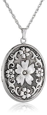 "Sterling Silver Oval Embossed Floral Antique Finish Locket Necklace, 22"""