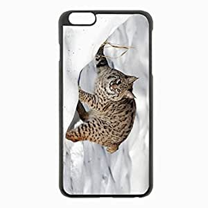 iPhone 6 Plus Black Hardshell Case 5.5inch - snow forest lynx cat Desin Images Protector Back Cover