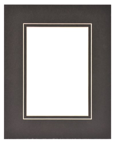 Gallery Solutions Custom Bevel Cut Double Black Mat for 8x10 Picture Frame with 5x7 Opening ()