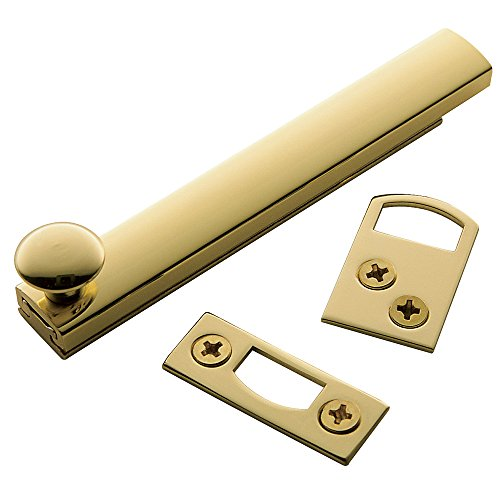 Baldwin Estate 0322.030 General Purpose Solid Brass Surface Bolt in Polished Brass, 4