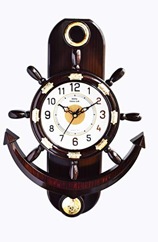 Mishty Plastic Pendulum Wall Clock for Home and Office (Brown)