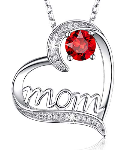 ❤️ I Love You Mom ❤️ July Birthstone Necklace Jewelry Birthday Gifts for Mom Sterling Silver Love Heart Ruby Pendants Anniversary Necklace Gifts for Women Wife Her Mothers from Daughter -