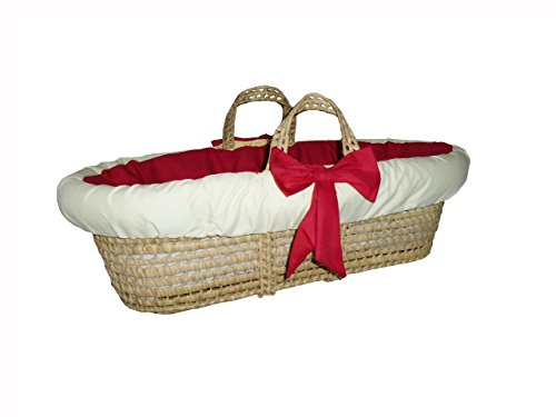 Baby Doll Bedding Solid Reversible Moses Basket, Red/Yellow ()