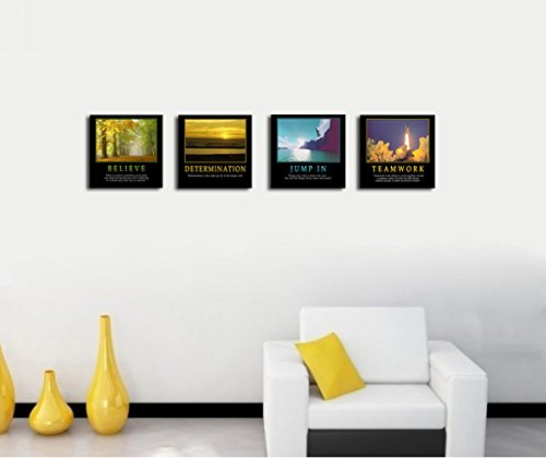 4Pcs x Motivational Quotes Motto Inspirational Success Teamwork Canvas Stretched Wood Framed Combine Modern Abstract Art For Home Room Office Wall Print Decor 12×12″ (30x30cm) (657-660)