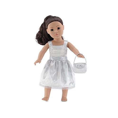 Purse Embellishment (18 Inch Doll Clothes | Satiny Silver Party Dress with Embellishments, Includes Matching Purse with Bow | Fits American Girl Dolls)