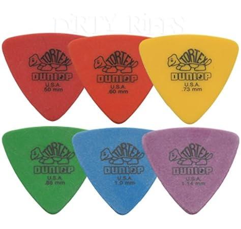 12 x Púas para guitarra presentadas en forma de triángulo y Dunlop Tortex / - 2 púas para cada tamaño en estuche de metal: Amazon.es: Instrumentos musicales