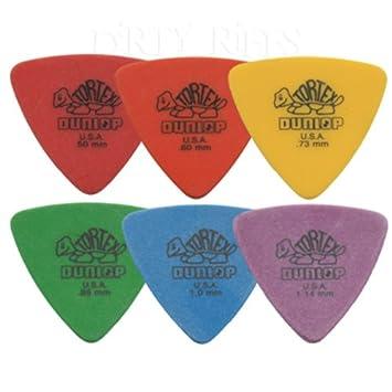 12 x Púas para guitarra presentadas en forma de triángulo y Dunlop Tortex / - 2 púas para cada tamaño en estuche de metal