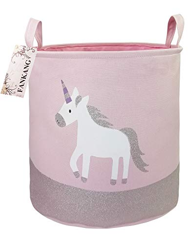 FANKANG Large Sized Gift Baskets Cute Rainbow Pattern Design Laundry Hamper Cotton Fabric Cylindric Storage Bin with Rope Handles, Decorative and Convenient for Kids Bedroom (Pink Unicorn)]()