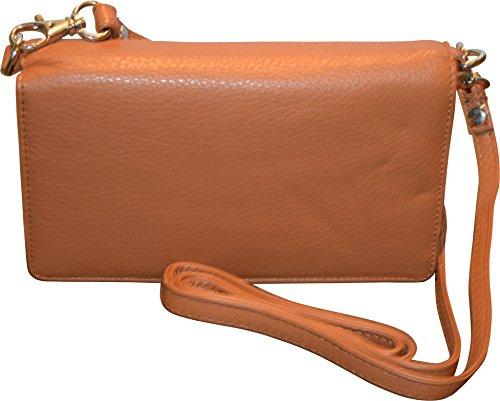 Pielino Women's Genuine Leather Smart Phone Crossbody Wallet With Shoulder Strap (Camel)
