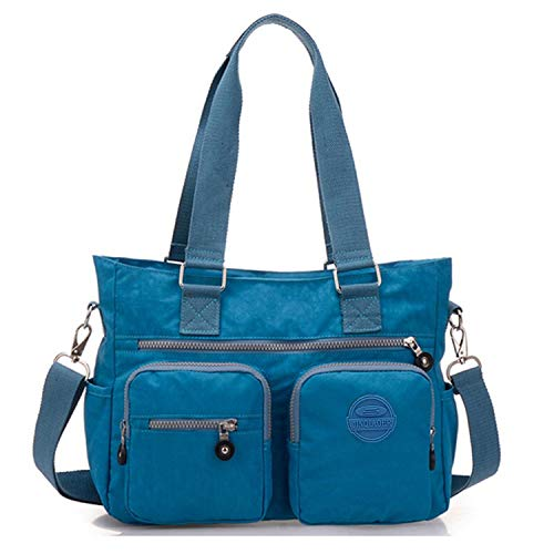 Cross Nylon Tiny Handbag Multipurpose Water Resistant for Tote Bag Blue Ocean Chou Premium Women Body Shoulder nXAqX8x