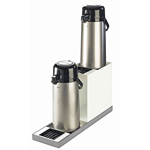 6.875W x 22.5D x 12.5H Luxe Two Step Airpot Stand White Metal/Stainless Steel Base