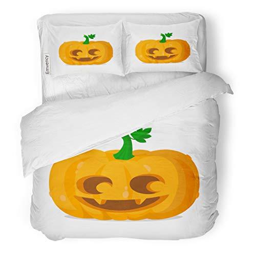Tarolo Bedding Duvet Cover Set Orange Eyes Halloween Pumpkin Happy Autumn Carving Celebration Cute Emotion 3 Piece Queen 90