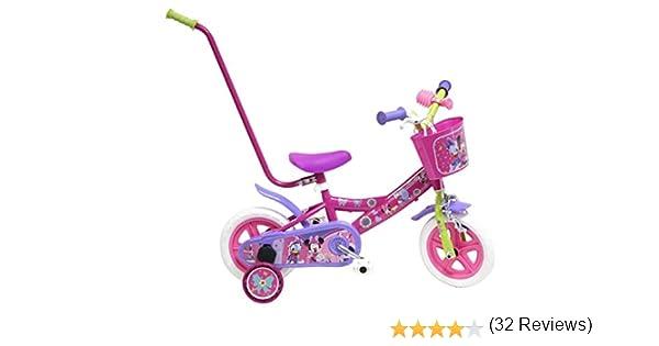 Disney Bicicleta Ni/ño Minnie con Barra de Aprendizaje 10 pulg Rosa 2-4 a/ños
