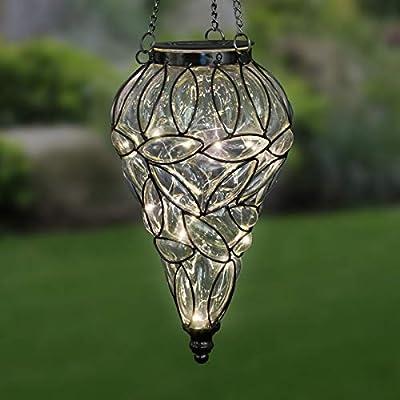 Exhart Lavender Solar Lantern Teardrop Glass Ceiling Lantern Hangs in a Metal Cage w// 12 Blue LED Firefly Solar Lights 7 L x 7 W x 24 H Glass Tear-Shaped Hanging Lantern