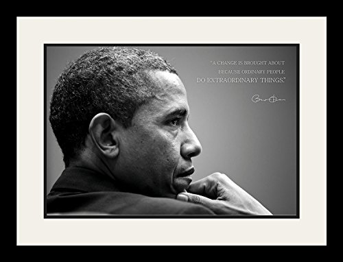 WeSellPhotos Barack Obama Photo Picture Poster Framed Quote A change is brought about because ordinary people US President Portrait Famous Inspirational Motivational Quotes (19x25 Framed)