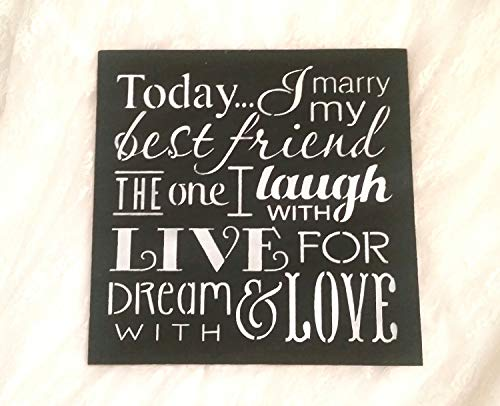 Today I Marry My Best Friend Sign/Wedding Sign Decor/Black and White Chalkboard/Photo Prop/Custom Colors]()