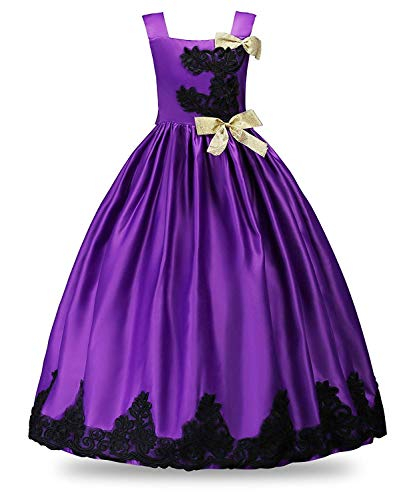 MOREMOO Flower Girls Pageant Wedding Dress Party Embroidered Ball Gowns(Purple 5-6 Years) -