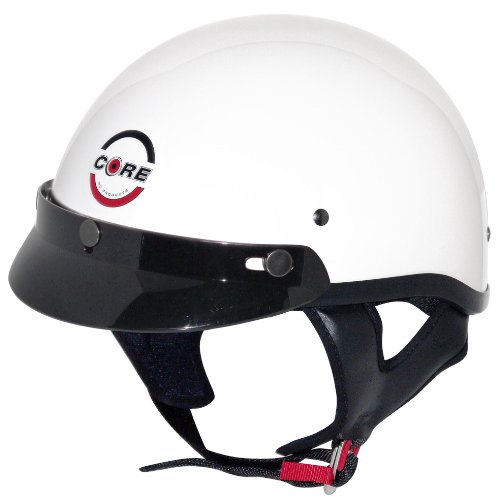 Core Cruiser Shorty Half Helmet (White, Medium)