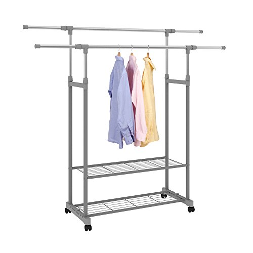 (HOME BI Adjustable Garment Rack with 2 Tier Metal Shelf for Shoes Boxes, Rolling Clothes Organizer, High Capacity,Stainless Steel,Heavy Duty up to 110 pounds)