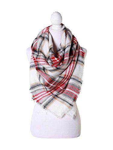Red/White/Black Women Fashion Warm Winter Blanket Scarf FunkyMonkey Fashion (Monkey Red Striped)