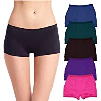 Neoteric Soft Womens Cotton Multicolour Boyshort Panties (Pack of 5) Combo May Vary