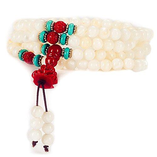 6mm 108 Natural Shell Beads Bracelet Buddhist Yoga Prayer Meditation Mala Bracelet Necklace