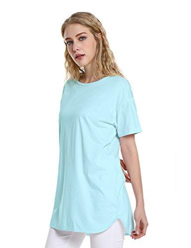 ZAN.STYLE Women's Plus Size Slub Cotton Tunic Tee Shirt Long T Shirt for Leggings Medium Style 2-Light Blue by ZAN.STYLE (Image #2)