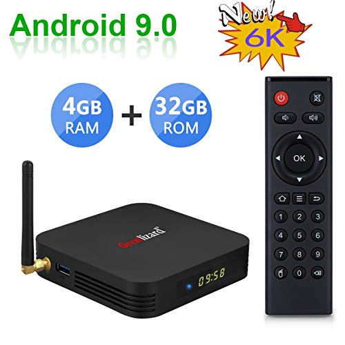 Greatlizard TX6 Android 9.0 Smart TV Box 4GB RAM 32GB ROM Quad Core 4K HD Resolution 2.4G WiFi Set Top TV Box