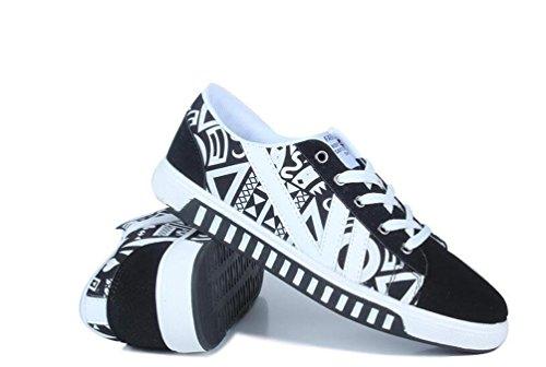 Zapatillas de deporte del monopatín Zapatillas suaves atléticas del cordón-para arriba de los hombres ocasionales clásicos ocasionales de los zapatos de lona de Comfortbale Tamaño 39-44 de la UE black and white