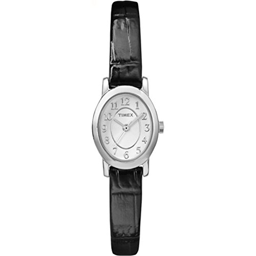 Timex Womens Cavatina Black Leather Strap Silver-Tone Case Dress Watch TW2P60400