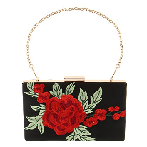 Prettyia Shoulder Rose Bridal Bag Handbag Purse Chain Women Gift P Lover Elegant Clutch Uq1xRRz
