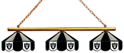 Imperial Officially Licensed NFL Merchandise: Tiffany-Style Stained Glass Billiard/Pool Table 3 Shade Light, Oakland Raiders
