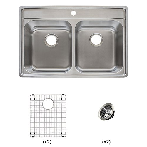 Franke Evolution All-in-One 33 Wide 9-inch Deep Top Mount 1-Hole Double Bowl Stainless Steel Kitchen Sink Kit, EVDCG901-18KIT, 33