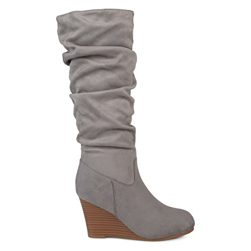 (Brinley Co. Womens Regular and Wide Calf Slouchy Faux Suede Mid-Calf Wedge Boots Grey, 7.5 Wide Calf US)