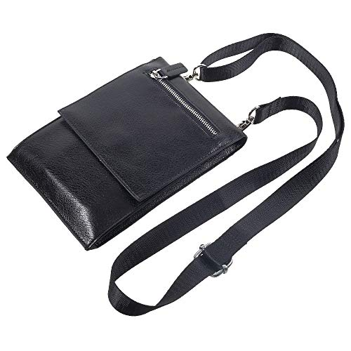 DFV mobile - Case Pocket Shoulder Bag with Lanyard for Tablet and Smartphone with Magnetic Closure and Zippers for => Rim BlackBerry Evolve X BBH100-1 (2018) > Black