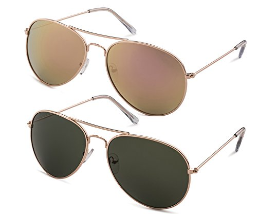 Stylle Classic Aviator Sunglasses with Protective Bag, 100% UV - Fake Ray Aviators Bans