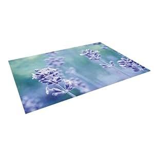 "Kess InHouse Iris Lehnhardt ""Lavender Dream"" Flower Purple Outdoor Floor Mat/Rug, 4 by 5-Feet"