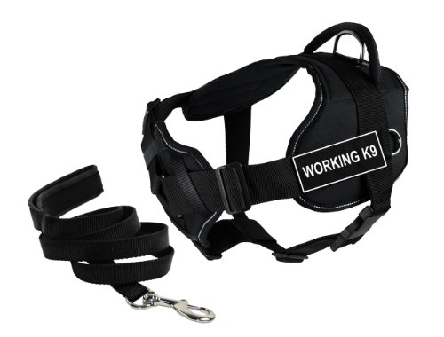 Dean & Tyler's DT Fun Chest Support ''WORKING K9'' Harness with Reflective Trim, Large, and 6 ft Padded Puppy Leash. by Dean & Tyler