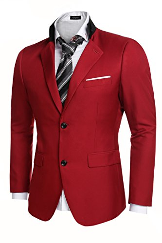 Coofandy Men's Casual Dress Suit Slim Fit Stylish Blazer Coats Jackets, Size Large, Red