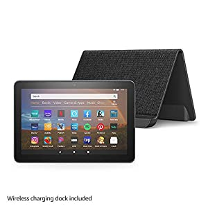 "Fire HD 8 Plus tablet, HD display, 64 GB, our best 8"" tablet for portable entertainment, Slate + Made for Amazon, Wireless Charging Dock"