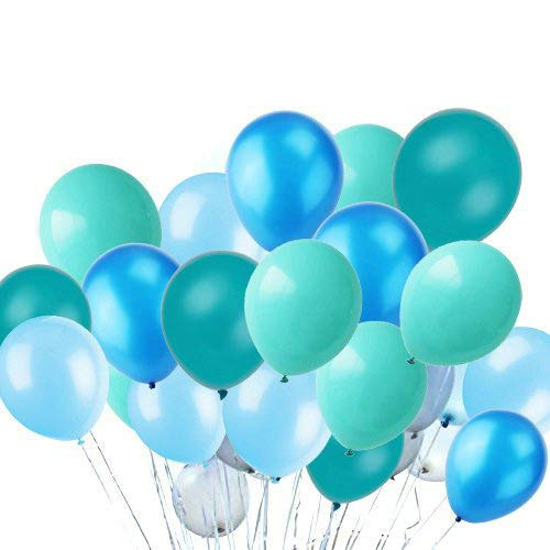 Turquoise Teal Aqua Tiffan Blue Assorted Mixed AQUA Mulit-Pack 33cm Inch Rubber Latex Party Balloons for Wedding Bridal Baby Shower Special Event (50 pcs) by Sogorge   B07BKX5M7D