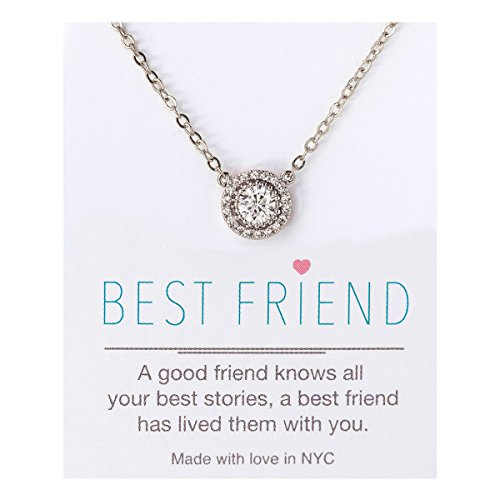 AMY O Crystal Pendant Necklace in Silver, Yellow Gold Rose Gold, Gift Best Friend, 16