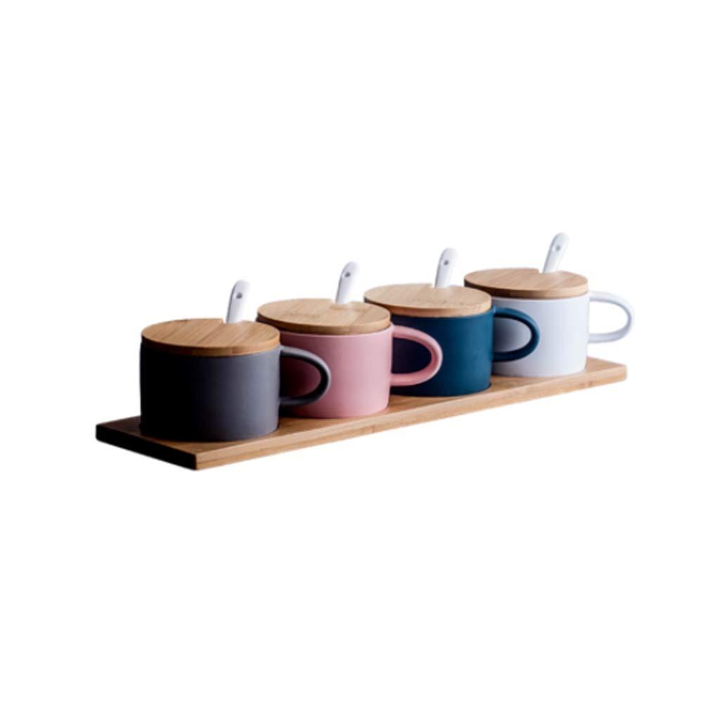 MINGRUIGONGMAO Seasoning Box - 4 ceramic seasoning boxes with 4 ceramic seasoning spoons / 4 wooden lids/wooden tray for home kitchen use. Plush toys (Color : Multi-colored) by MINGRUIGONGMAO
