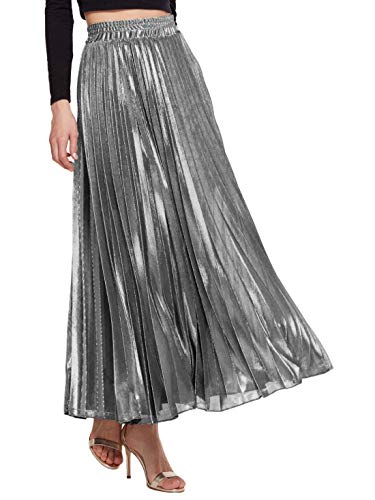 Amormio Women's Glittery Gold/Silver High-Waist Metallic Accordion Pleated Formal Party Maxi Skirt (Attractive Silver, Medium)