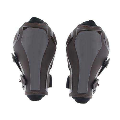 Hind Fetlock Boots - CUTICATE Horses Boots, Open Front Jumping Tendon and Hind Fetlock Secure Leg Protection, Lightweight, Durable, Horse Riding - Brown Rear