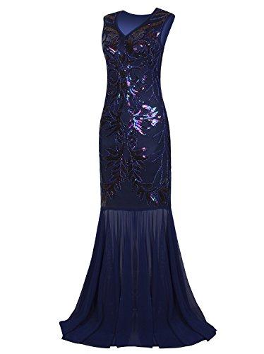 Vijiv 1920s Long Prom Dresses V Neck Beaded Sequin Gatsby Maxi Evening Dress, Blue, Small]()